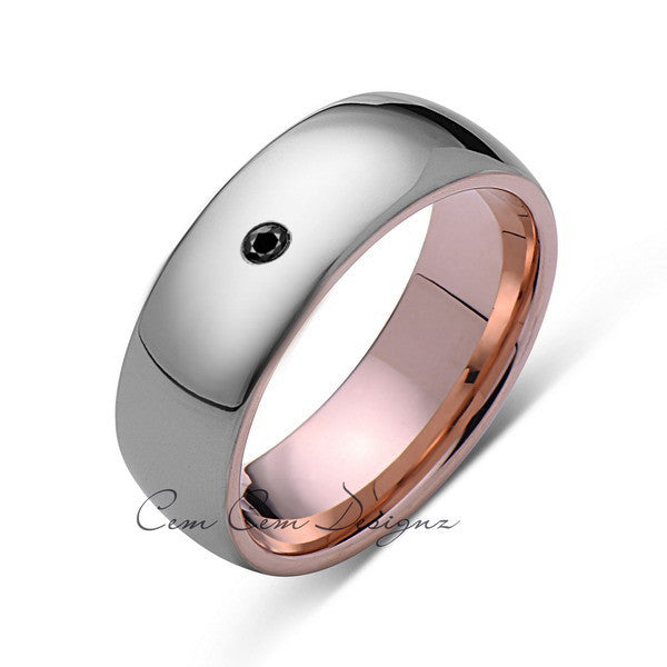 8mm,Mens,Black Diamond,Gray,Rose Gold,Tungsten Ring,Rose Gold,Wedding Band,Comfort Fit - LUXURY BANDS LA
