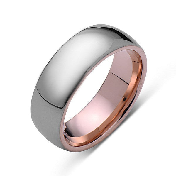 Rose Gold Tungsten Ring - Gray High Polish Ring - 8mm Band - Engagement Ring - LUXURY BANDS LA
