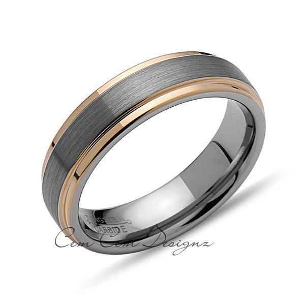 Yellow Gold Tungsten Wedding Band - Gray Brushed Ring - 6mm Band - Stepped Edges -  Engagement Ring - LUXURY BANDS LA