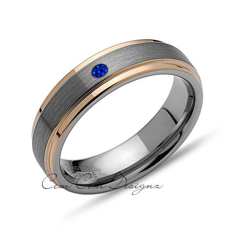 6mm,Mens,Blue Sapphire,Yellow Gold,Wedding Band,,Gray,Brushed,Yellow Gold,Birthstone,Tungsten Ring,Comfort Fit - LUXURY BANDS LA