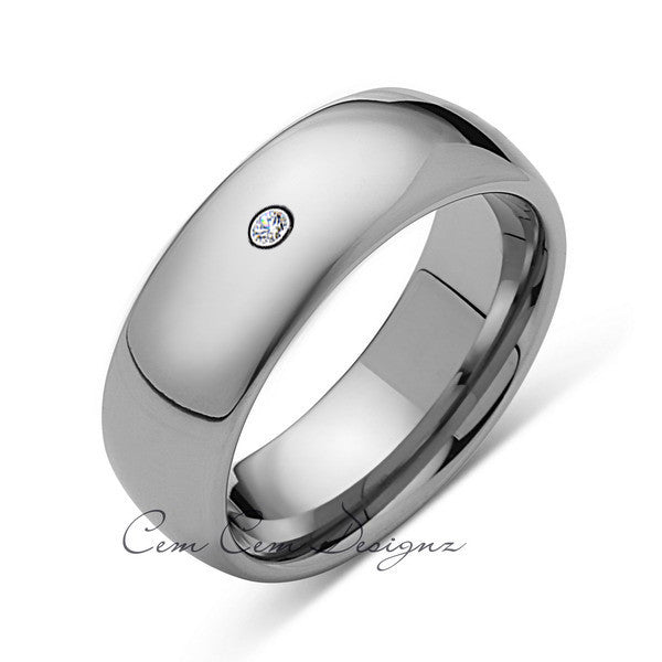8mm,Mens,Diamond,White Gold,Wedding Band,unique,White Gold,Tungsten Ring,Comfort Fit - LUXURY BANDS LA