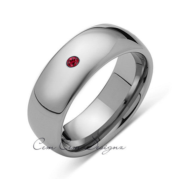 8mm,Mens,Red Ruby,White Gold,Tungsten Ring,White Gold,Birthstone,Wedding Band,Comfort Fit - LUXURY BANDS LA