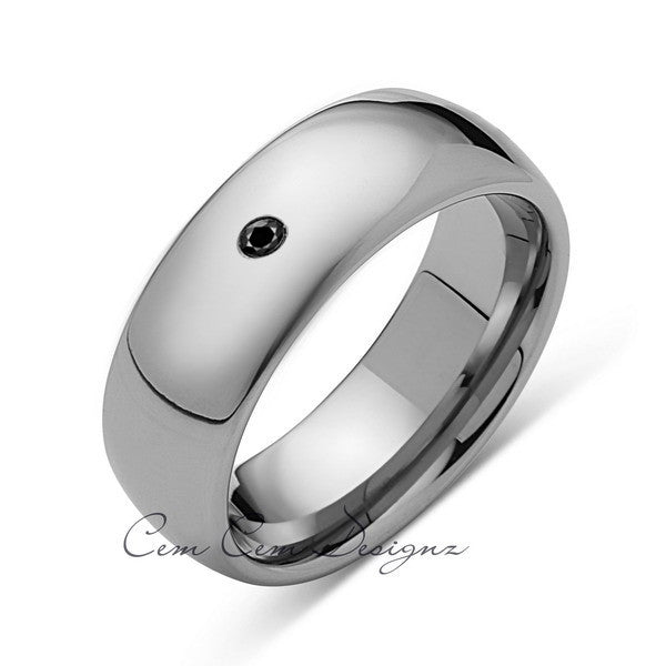 8mm,Mens,Black Diamond,White Gold,Tungsten Ring,White Gold,Wedding Band,Comfort Fit - LUXURY BANDS LA