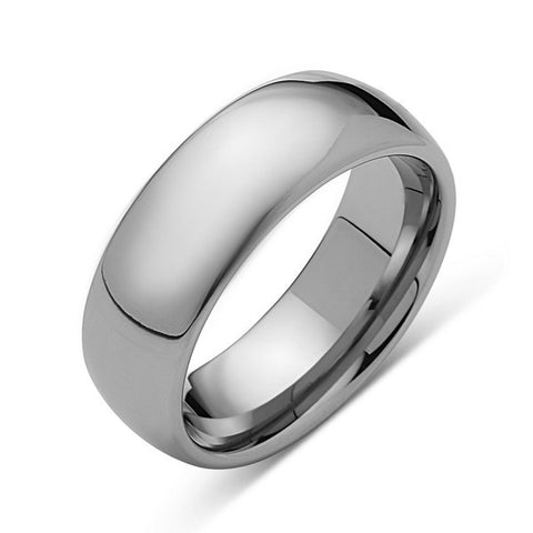 8mm,New,Unique,High Polish White,Tungsten Rings,Wedding Band,Matching,Comfort Fit,Unisex - LUXURY BANDS LA