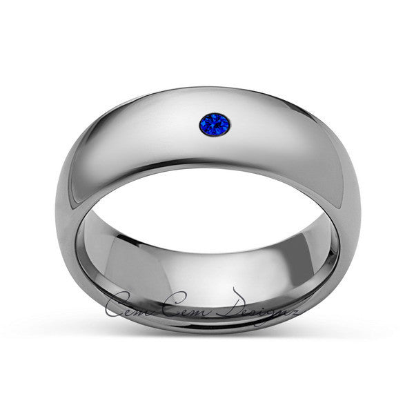 8mm,Mens,Blue Sapphire,White Gold,Tungsten Ring,White Gold,Wedding Band,Comfort Fit - LUXURY BANDS LA