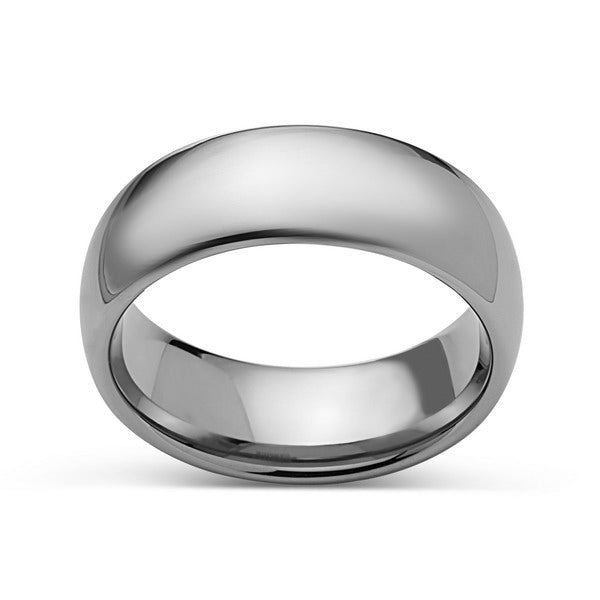 Silver High Polish Tungsten Ring - 8mm - High Polish - Plain Wedding Band - Engagement Ring