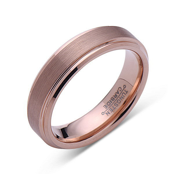 Rose Gold Tungsten Wedding Band - Brushed Rose Gold Tungsten Ring - 6mm - Mens Ring - Tungsten Carbide - Engagement Band - Comfort Fit - LUXURY BANDS LA
