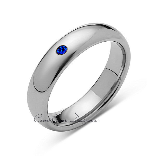 6mm,Mens,Blue Sapphire,White Gold,Tungsten Ring,White Gold,Wedding Band,Comfort Fit - LUXURY BANDS LA