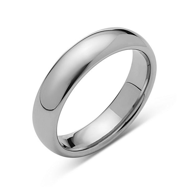 Silver High Polish Tungsten Ring - 8mm - High Polish - Plain Wedding Band - Engagement Ring - LUXURY BANDS LA