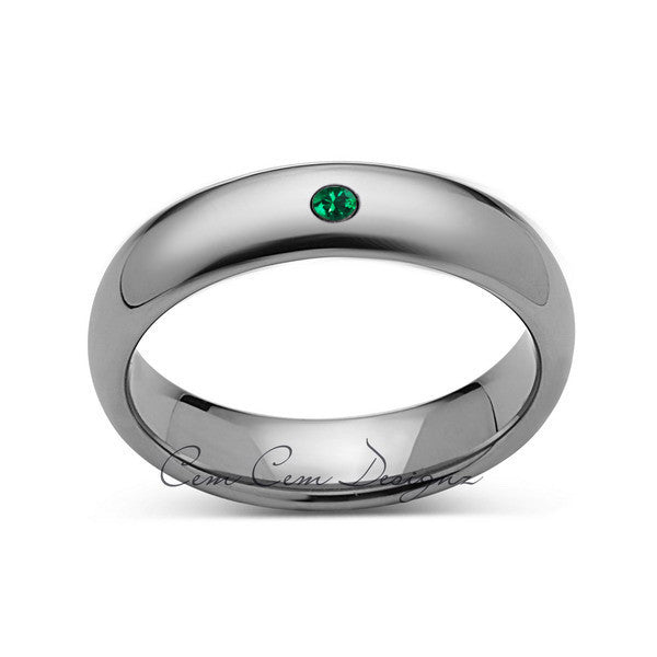 8mm,Mens,Green Emerald,Whte Gold,Tungsten Ring,White Gold,Birthstone,Wedding Band,Comfort Fit - LUXURY BANDS LA