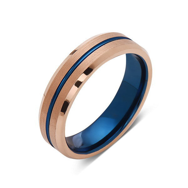Blue Tungsten Wedding Band - Rose Gold Tungsten Ring - 6mm- Matching Bands - Tungsten Carbide - Engagement Band - Comfort Fit - LUXURY BANDS LA