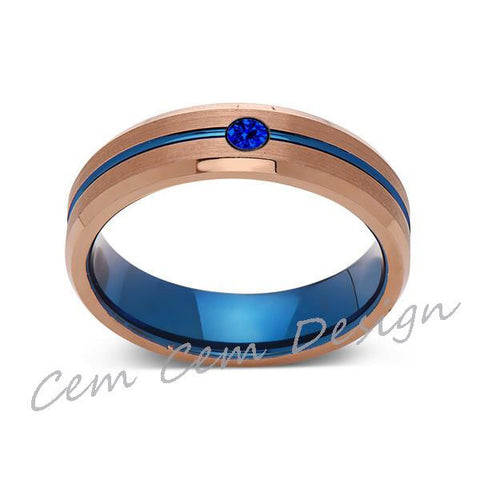 6mm,Blue Sapphire,Brushed Rose Gold,Blue,Tungsten Ring,Mens Wedding Band,Blue Mens Ring - LUXURY BANDS LA