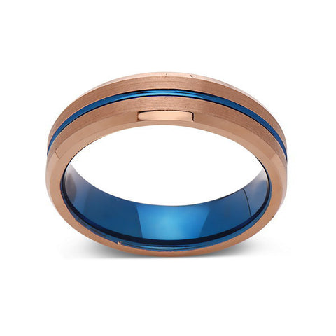 Blue Tungsten Wedding Band - Rose Gold Tungsten Ring - 6mm- Matching Bands - Tungsten Carbide - Engagement Band - Comfort Fit