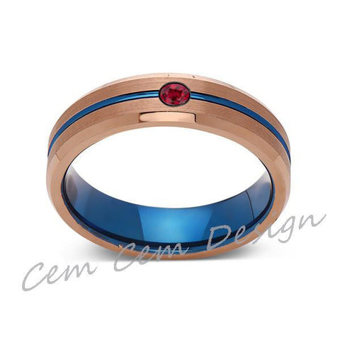 6mm,Red Ruby,Brushed Rose Gold,Blue,Tungsten Ring,Mens Wedding Band,Blue Mens Ring - LUXURY BANDS LA