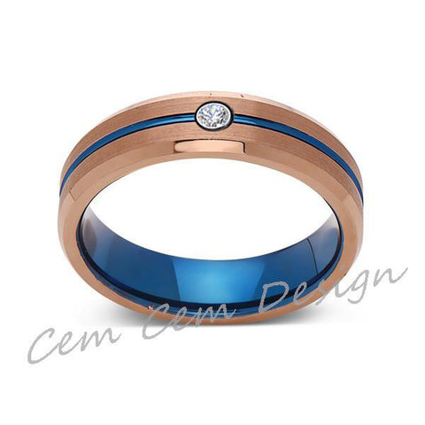6mm,Diamond,Brushed Rose Gold,Blue,Tungsten Ring,Mens Wedding Band,Blue Mens Ring - LUXURY BANDS LA