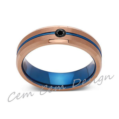 6mm,Black Diamond,Brushed Rose Gold,Blue,Tungsten Ring,Mens Wedding Band,Blue Mens Ring - LUXURY BANDS LA