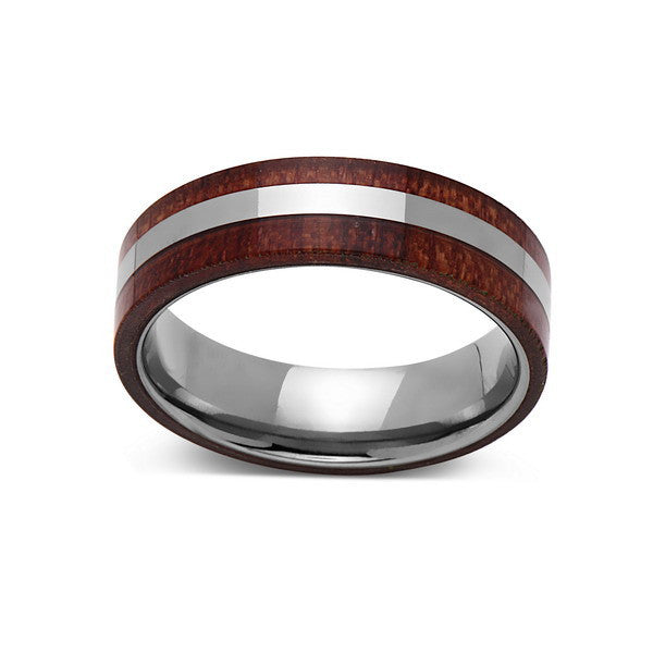 Koa Wood Wedding Ring - Silver Tungsten Band - Hawaiian Koa Wood - 6mm - Mens - Comfort Fit - LUXURY BANDS LA