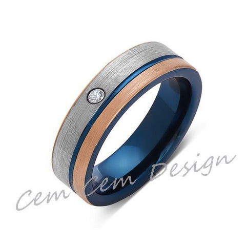 6mm,Diamond,Brushed Rose Gold,Gun Metal Gray and Blue,Tungsten Ring,Mens Wedding Band,Blue Mens Ring - LUXURY BANDS LA