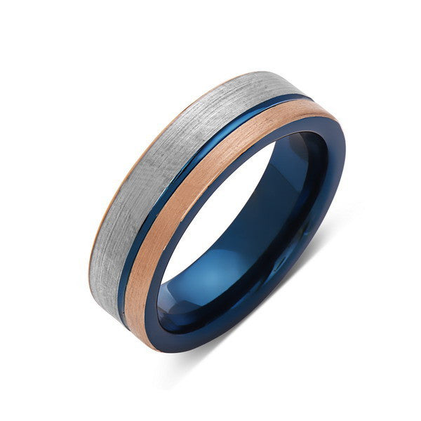 Blue Tungsten Wedding Band - Rose Gold Brushed Tungsten Ring - 6mm - Mens Ring - Tungsten Carbide - Engagement Band - Comfort Fit - LUXURY BANDS LA