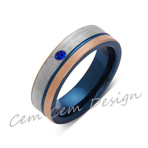 6mm,Blue Sapphire,Brushed Rose Gold,Gun Metal Gray and Blue,Tungsten Ring,Mens Wedding Band,Blue Mens Ring - LUXURY BANDS LA