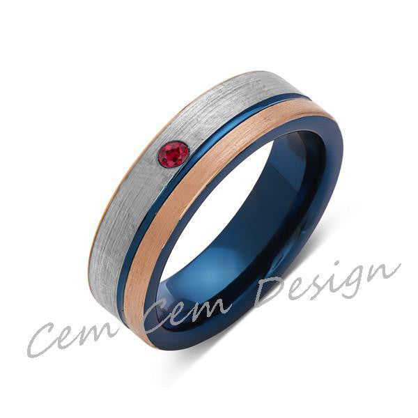 6mm,Red Ruby,Brushed Rose Gold,Gun Metal Gray and Blue,Tungsten Ring,Mens Wedding Band,Blue Mens Ring - LUXURY BANDS LA