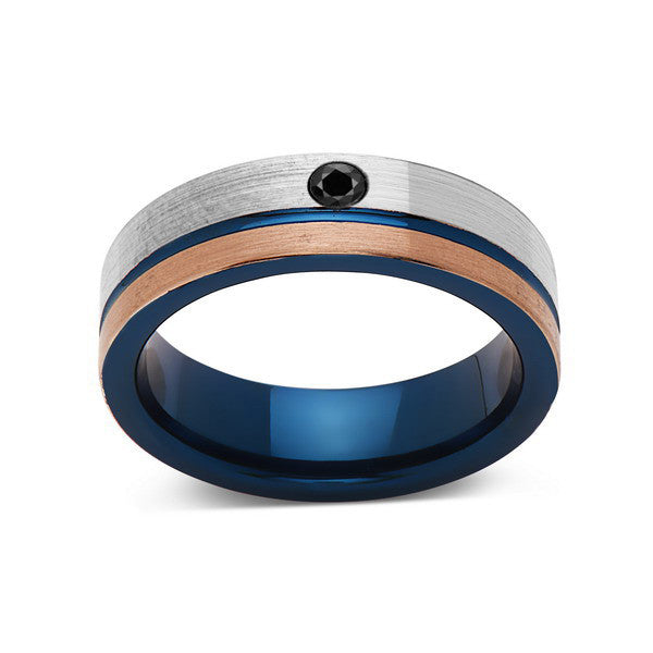 6mm,Black Diamond,Brushed Rose Gold,Gun Metal Gray and Blue,Tungsten Ring,Mens Wedding Band,Blue Mens Ring - LUXURY BANDS LA