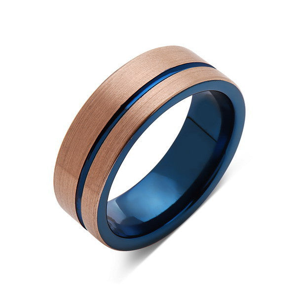 Blue Tungsten Wedding Band - Rose Gold Brushed Tungsten Ring - 8mm - Mens Ring - Tungsten Carbide - Engagement Band - Comfort Fit - LUXURY BANDS LA