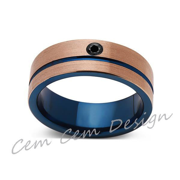 8mm,Black Diamond,Brushed Rose Gold and Blue,Tungsten Ring,Mens Wedding Band,Blue Mens Ring,Comfort Fit - LUXURY BANDS LA