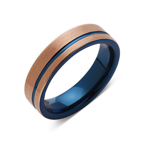 Blue Tungsten Wedding Band - Rose Gold Tungsten Ring - 6mm- Mens Ring - Tungsten Carbide - Engagement Band - Comfort Fit