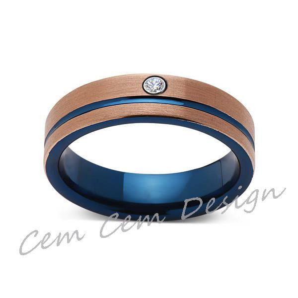 6mm,Diamond,Brushed Rose Gold and Blue,Tungsten Ring,Mens Wedding Band,Blue Mens Ring,Comfort Fit - LUXURY BANDS LA