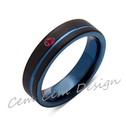6mm,New,Red Ruby,Black Brushed, Blue Groove,Tungsten Ring,Mens Wedding Band,Blue Ring,Comfort Fit - LUXURY BANDS LA