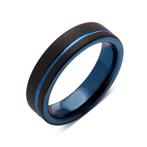 Blue Tungsten Wedding Band - Black Brushed Tungsten Ring - 6mm - Mens Ring - Tungsten Carbide - Engagement Band - Comfort Fit