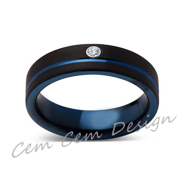 6mm,New,Diamond,Black Brushed, Blue Groove,Tungsten Ring,Mens Wedding Band,Blue Ring,Comfort Fit - LUXURY BANDS LA