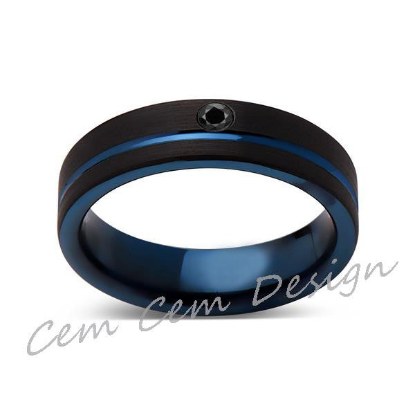 6mm,New,Black Diamond,Black Brushed, Blue Groove,Tungsten Ring,Mens Wedding Band,Blue Ring,Comfort Fit - LUXURY BANDS LA