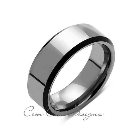 8mm,New,Unique,High Polish Gray,Black Tungsten Rings,Mens Wedding Band,Comfort Fit - LUXURY BANDS LA