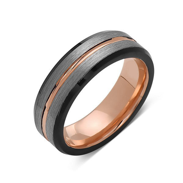 Rose Gold Tungsten Wedding Band - Gray and Black Brushed Tungsten Ring - 6mm - Mens Ring - Tungsten Carbide - Engagement Band - Comfort Fit - LUXURY BANDS LA