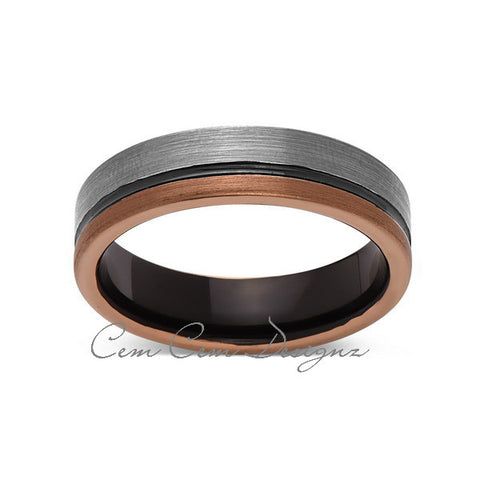 6mm,Unique,Gun Metal,Gray Brushed,Rose Gold Groove,Tungsten RIng,Unisex Wedding Band,Unisex,Comfort Fit - LUXURY BANDS LA