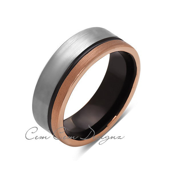 8mm,Unique,Gun Metal,Gray Brushed,Rose Gold Groove,Tungsten RIng,Unisex Wedding Band,Mens Band,Comfort Fit - LUXURY BANDS LA