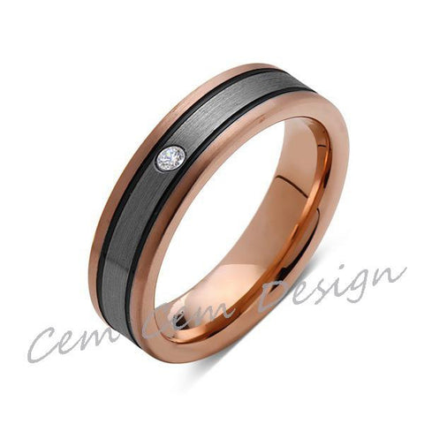 6mm,Diamond,New,Unique,Rose Brushed,Rose Gold, Black Grooves,Tungsten Ring,Mens Wedding Band,Comfort Fit - LUXURY BANDS LA