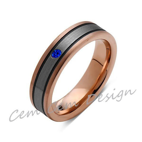6mm,Blue Sapphire,New,Unique,Rose Brushed,Rose Gold, Black Grooves,Tungsten Ring,Mens Wedding Band,Comfort Fit - LUXURY BANDS LA