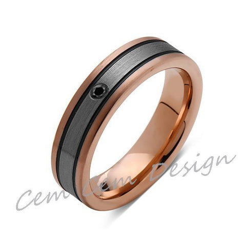 6mm,Black Diamond,New,Unique,Rose Brushed,Rose Gold, Black Grooves,Tungsten Ring,Mens Wedding Band,Comfort Fit - LUXURY BANDS LA