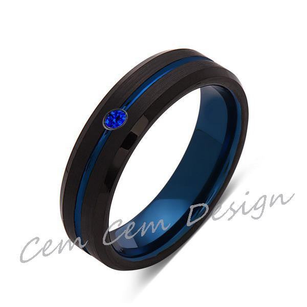 6mm,New,Blue Sapphire,Black Brushed, Blue Groove,Tungsten Ring,Mens Wedding Band,Blue Ring,Comfort Fit - LUXURY BANDS LA