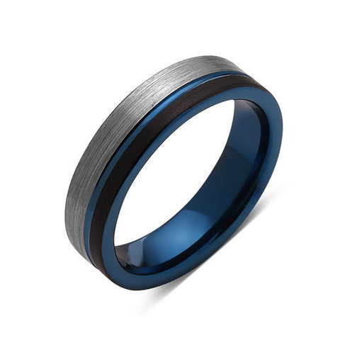 Blue Tungsten Wedding Band - Black Brushed - Gray Brushed Tungsten Ring - 6mm - Mens Ring - Tungsten Carbide - Engagement Band - Comfort Fit - LUXURY BANDS LA