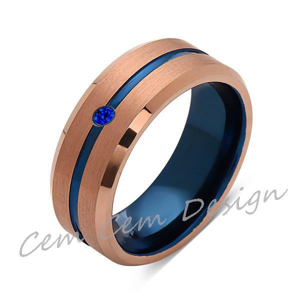 8mm,Blue Sapphire,Brushed Rose Gold,Blue,Tungsten Ring,Mens Wedding Band,Blue Mens Ring - LUXURY BANDS LA