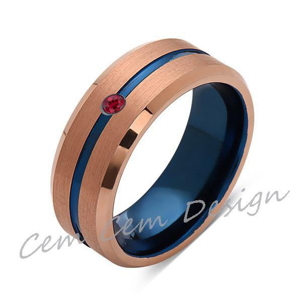 8mm,Red Ruby,Brushed Rose Gold,Blue,Tungsten Ring,Mens Wedding Band,Blue Mens Ring - LUXURY BANDS LA