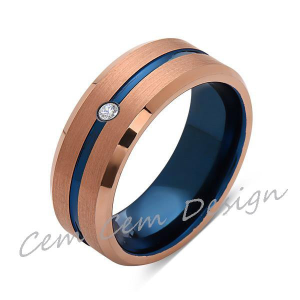 8mm,Diamond,Brushed Rose Gold,Blue,Tungsten Ring,Mens Wedding Band,Blue Mens Ring - LUXURY BANDS LA