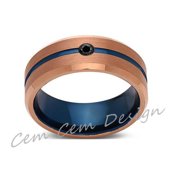 8mm,Black Diamond,Brushed Rose Gold,Blue,Tungsten Ring,Mens Wedding Band,Blue Mens Ring - LUXURY BANDS LA