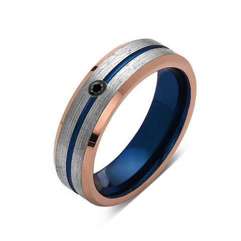 6mm,Black Diamond,Brushed Rose Gold,Gray and Blue,Tungsten Ring,Matching ,Mens Wedding Band,Blue Ring,Comfort Fit - LUXURY BANDS LA