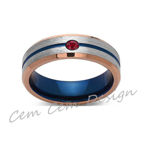 6mm,Red Ruby,Brushed Rose Gold,Gray and Blue,Tungsten Ring,Matching ,Mens Wedding Band,Blue Ring,Comfort Fit - LUXURY BANDS LA