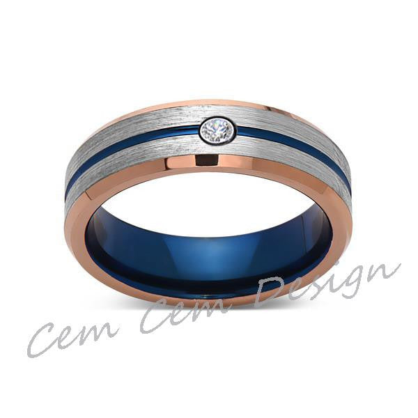 6mm,Diamond,Brushed Rose Gold,Gray and Blue,Tungsten Ring,Matching ,Mens Wedding Band,Blue Ring,Comfort Fit - LUXURY BANDS LA